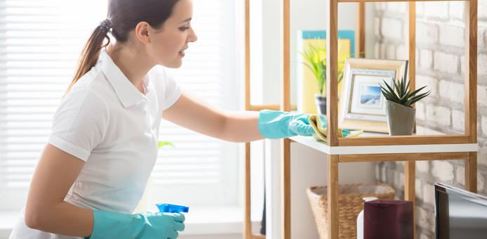 limpieza estante departamento